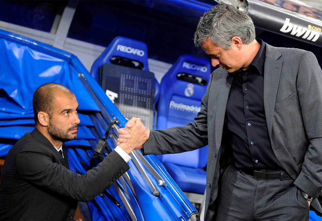 Image result for Guardiola with Mourinho